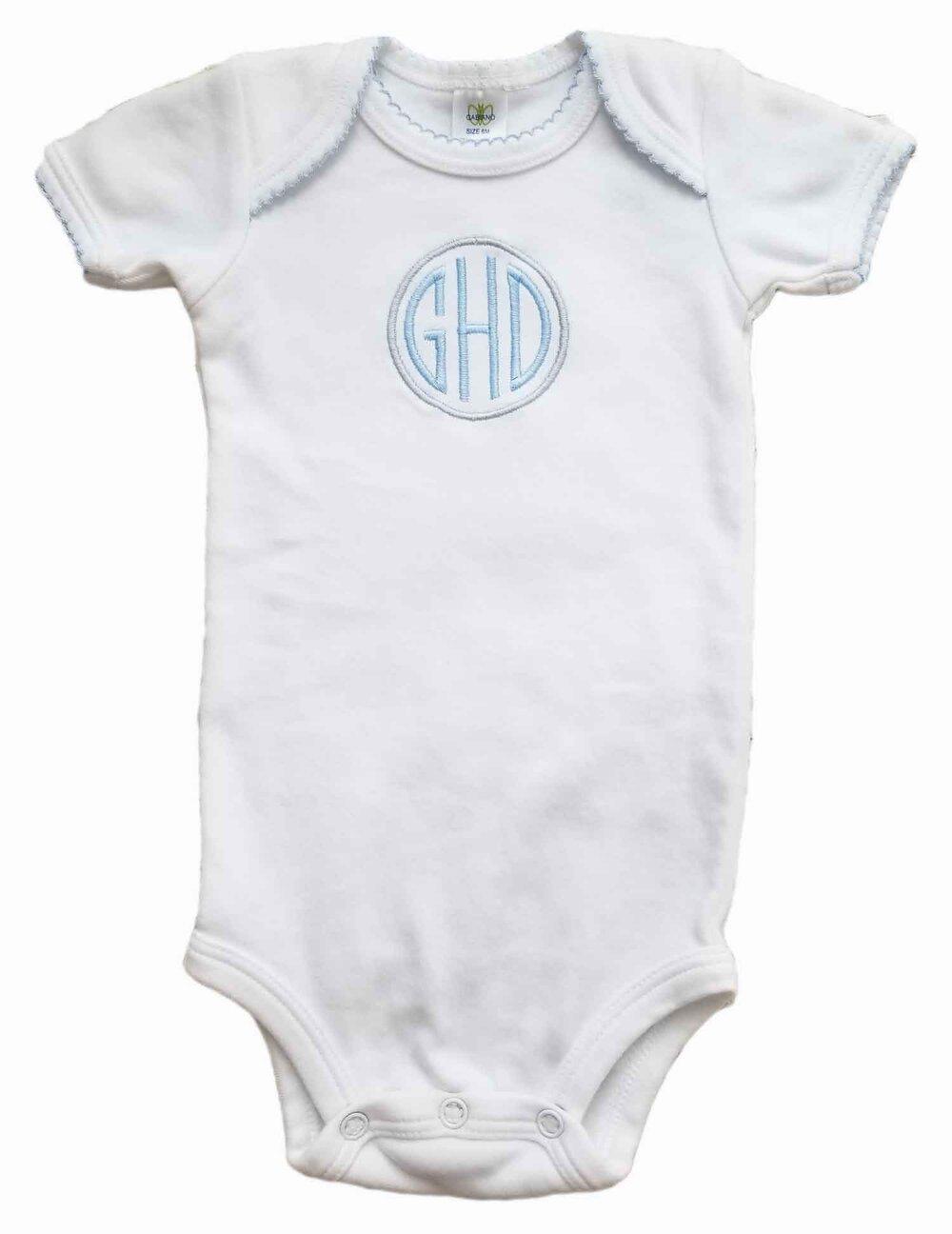 Monogrammed baby boy bodysuit