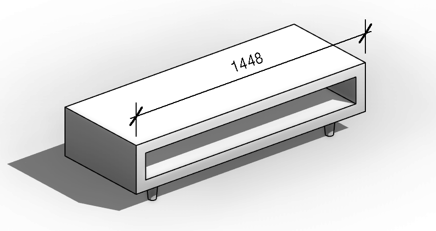 Rhino Coffee Table imported in Revit. You can use dimensions on the imported file.