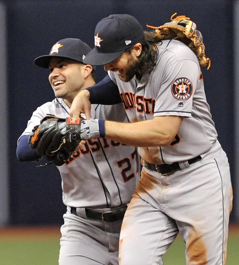 Houston Astros' Altuve and Marisnick celebrate a 1-0 win