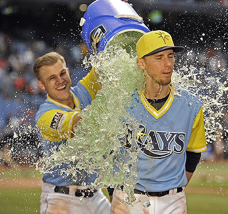 The splash of victory after the Rays won their eighth straight game, sweeping both the Royals and the Red Sox during a home stand at the Trop.
