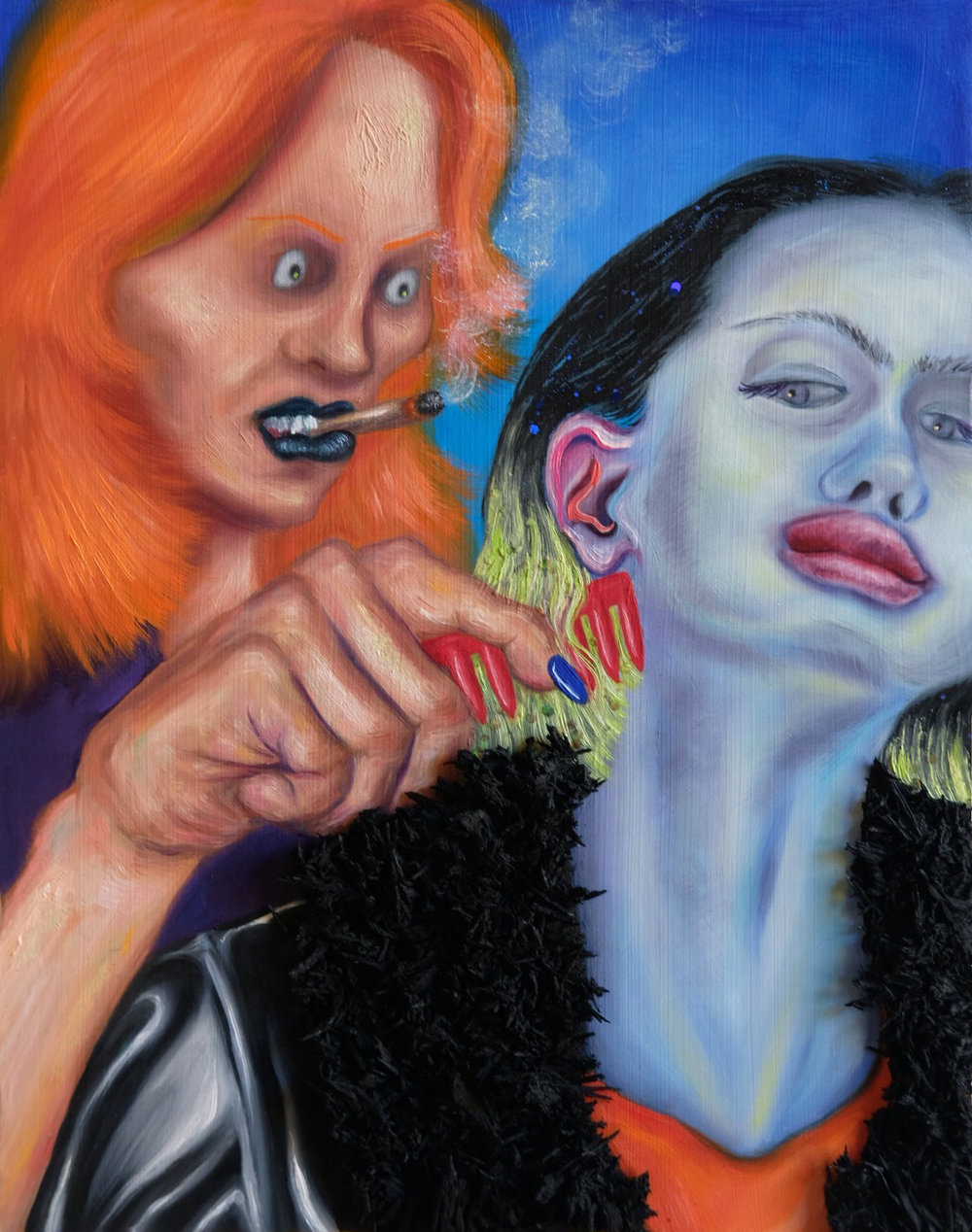"""Brushing Hair  11"""" x 14""""  Oil paint, tire rubber and glitter on panel  2019"""