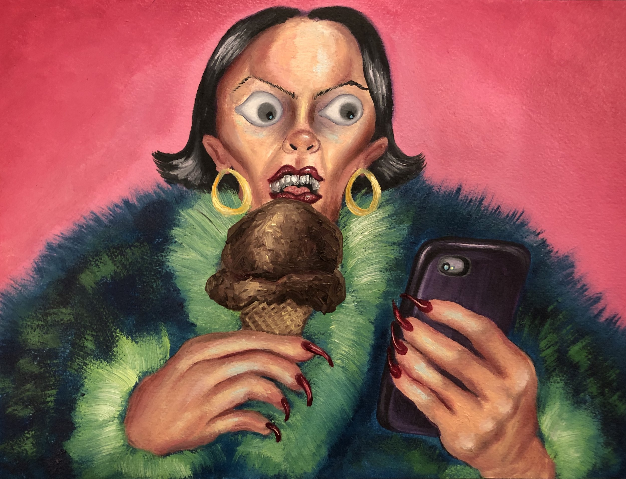 Eating Ice Cream and Sexting  Oil paint on paper  2019
