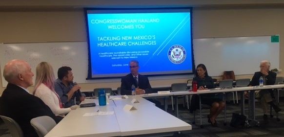 Panelists at the Tackling New Mexico's Healthcare Challenges roundtable discussion with Congresswoman Deb Haaland, June 15, 2019.  Photo © Dana Millen.