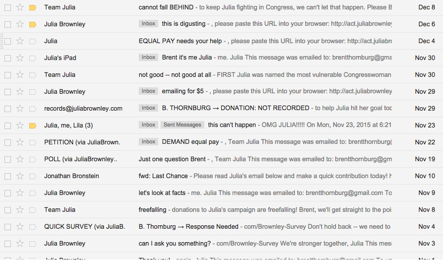 Brent's inbox circa right this moment