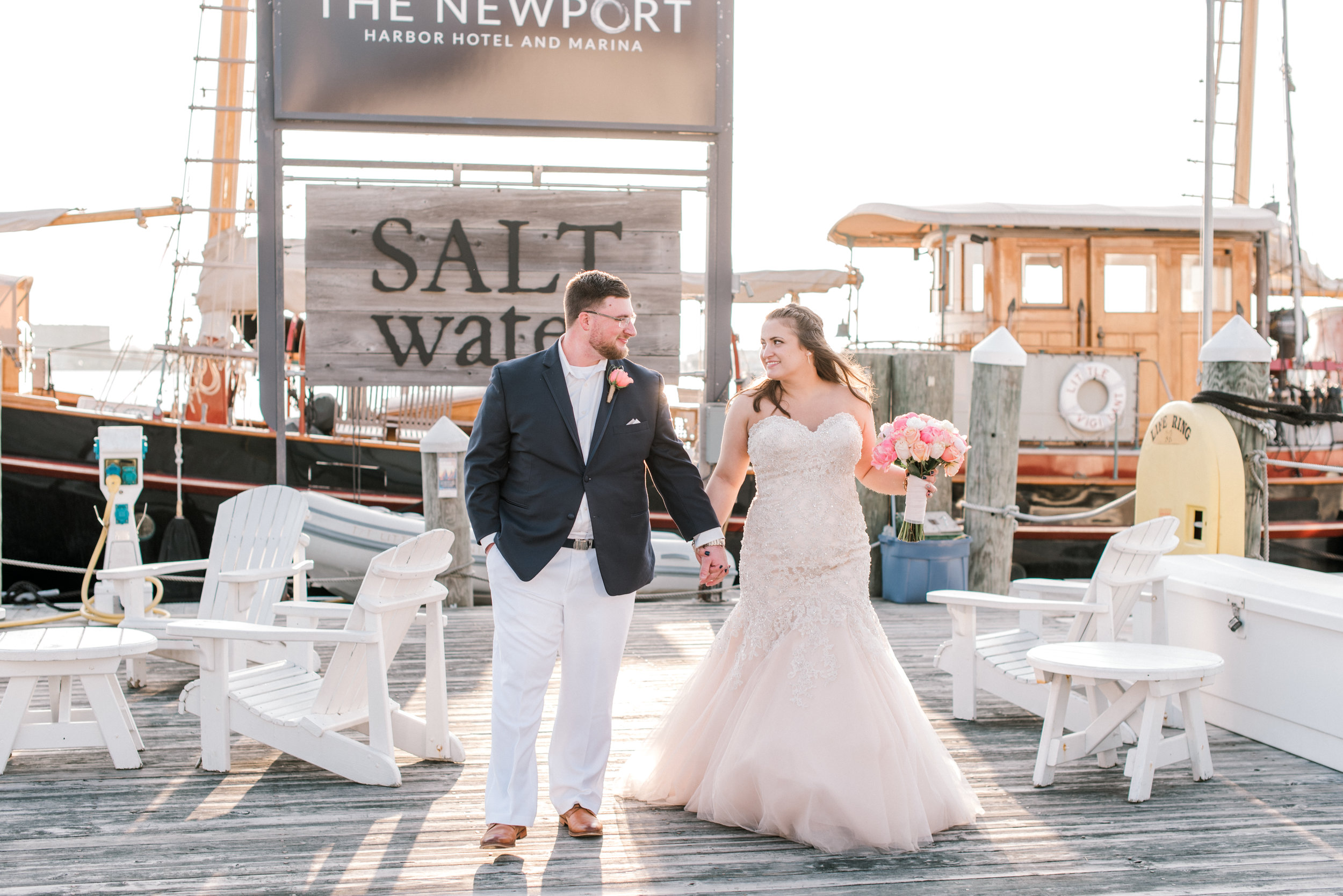 Newport Wedding Photographer Newport Harbor Hotel Sunset Bride and Groom Alicia Ann Photographie Dock 2.jpg