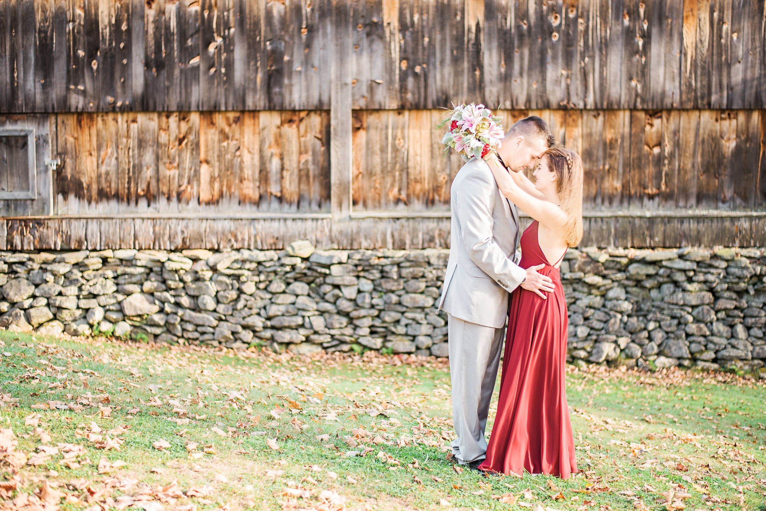 Moore State Park Paxton MA Boston Wedding Photographer Engagement Suit and tie gown Fall .jpg