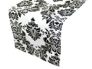 Damask Black and White Table Runner Hire