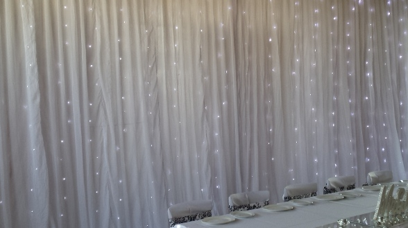 Backdrop with fairylights, minimum length 6m. Cover up to 30m length up to 4.5m high. Black Red & Fuchsia also available.