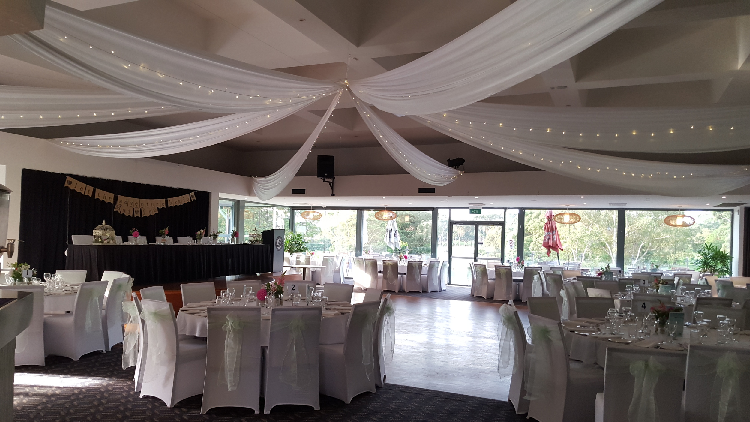White silk ceiling drapes with fairy lights by Fairytale Events - North Ryde Golf Club