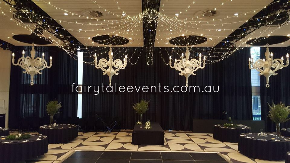 Star shaped canopy of fairy lights by Fairytale Events - Ivy Ballroom