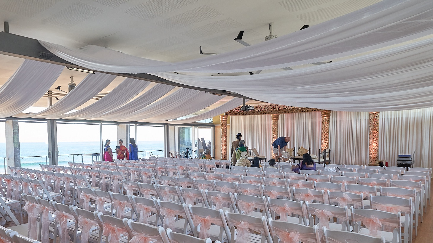 White silk drapes by Fairytale Events - Avalon Beach SLSC