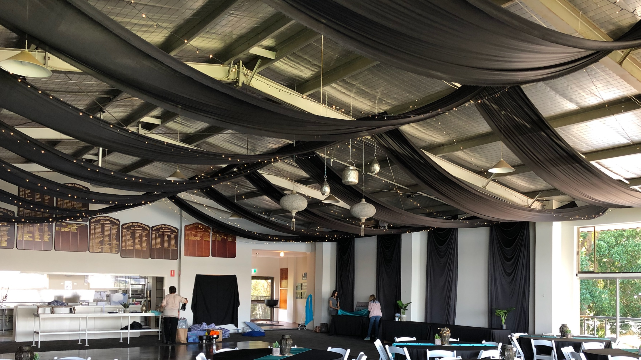 Black silk drapes with fairy lights by Fairytale Events - Hunters Hill Sailing Club