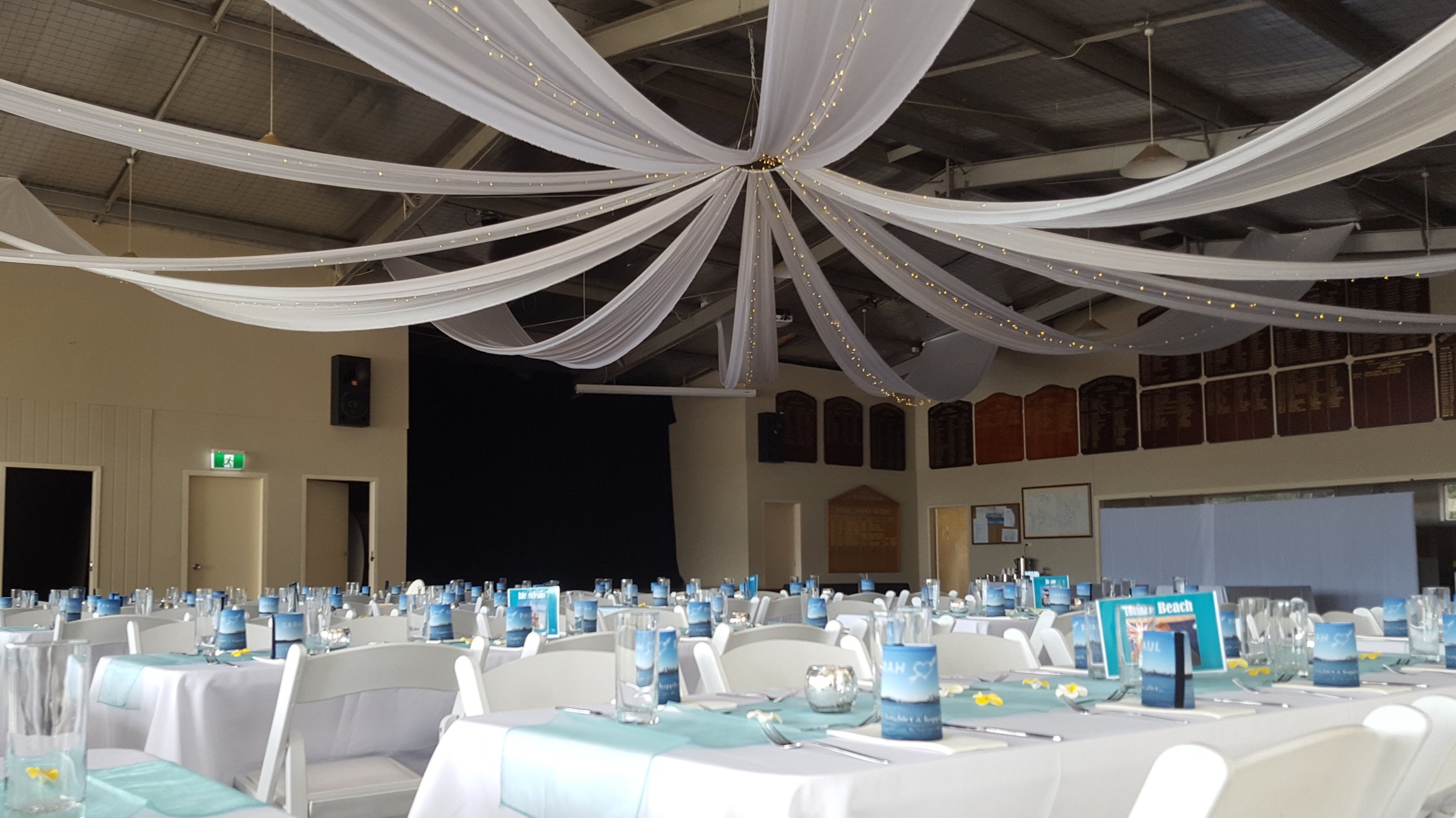 White silk drapes with fairy lights by Fairytale Events - Hunters Hill Sailing Club