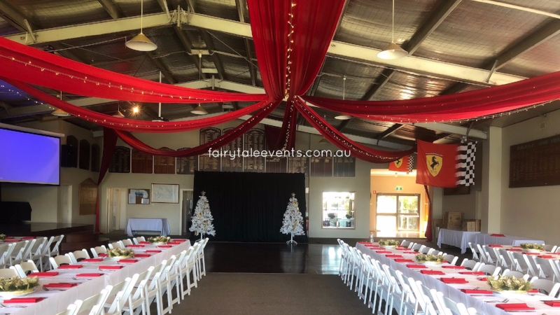 Red silk drapes with fairy lights by Fairytale Events - Hunters Hill Sailing Club