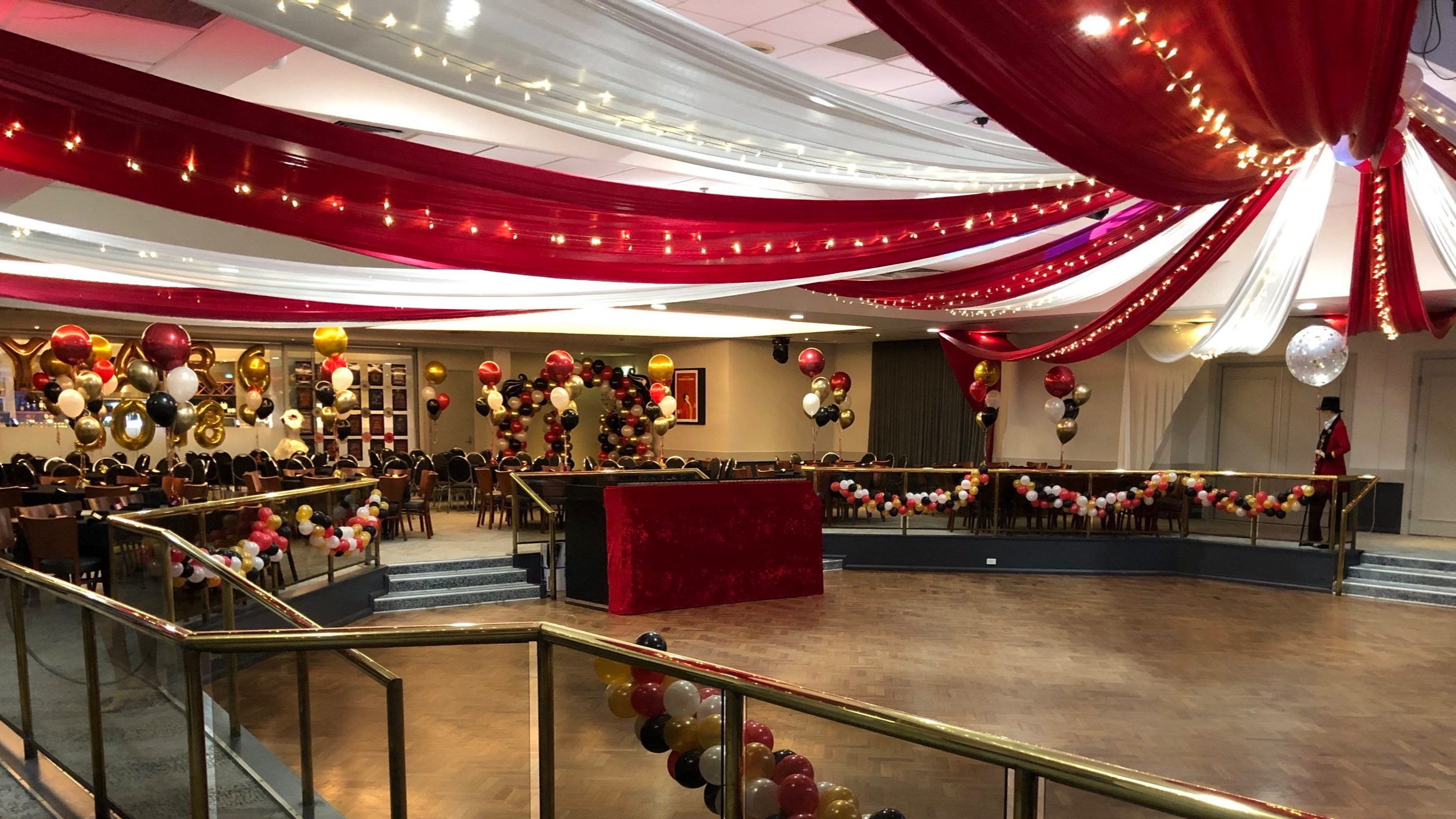 Red & white circus themed ceiling draping by Fairytale Events - Pittwater RSL