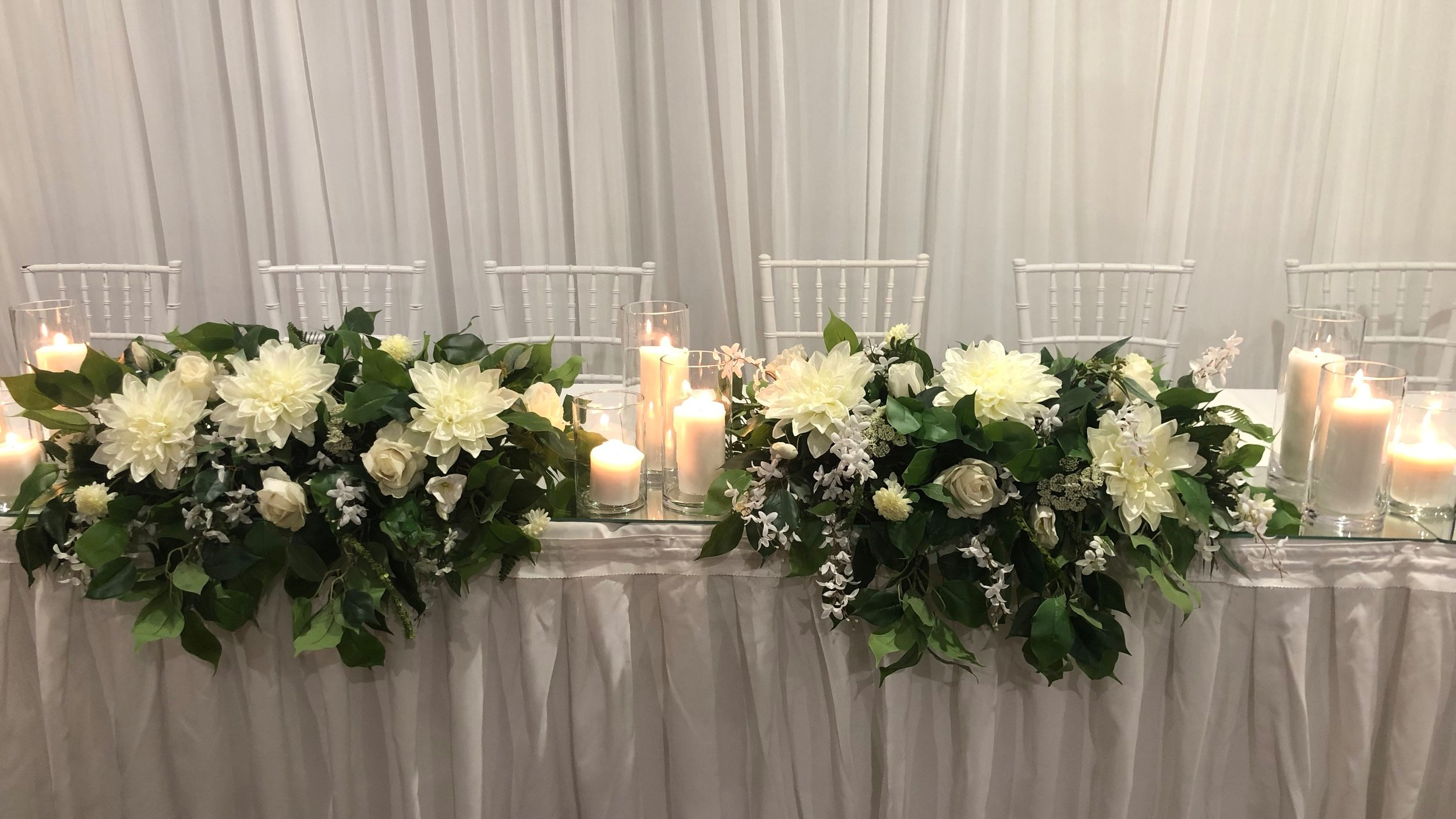 Standard Ann bridal table decor including pillar candle upgrade