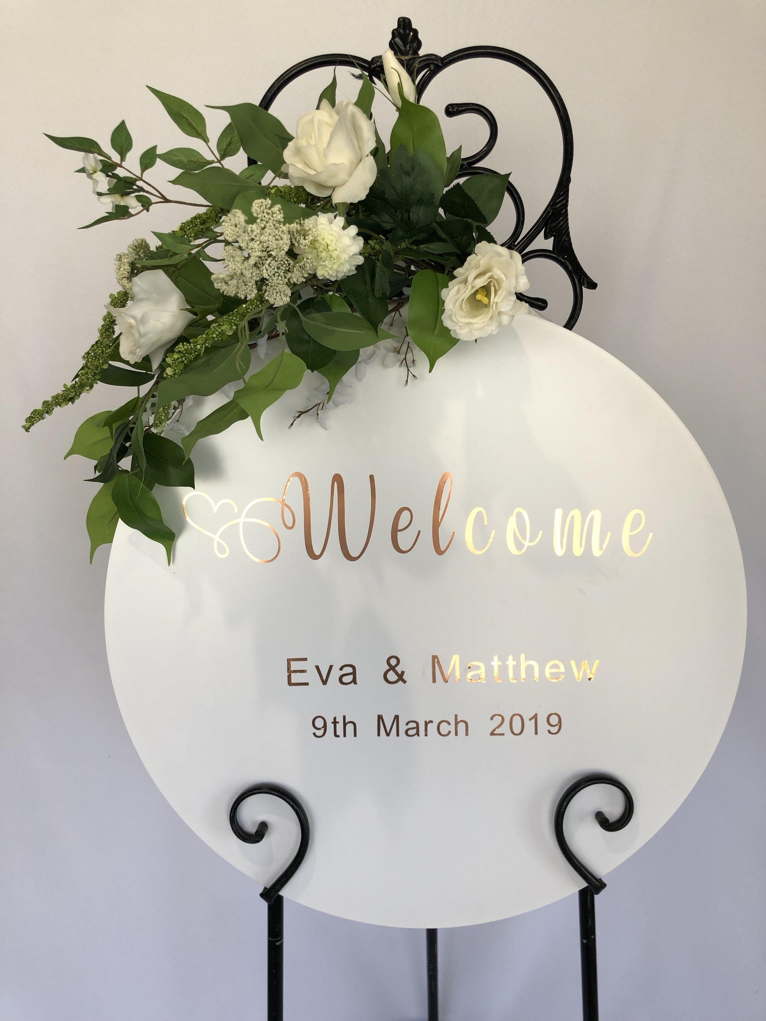 wedding welcome sign hire ann silk floral