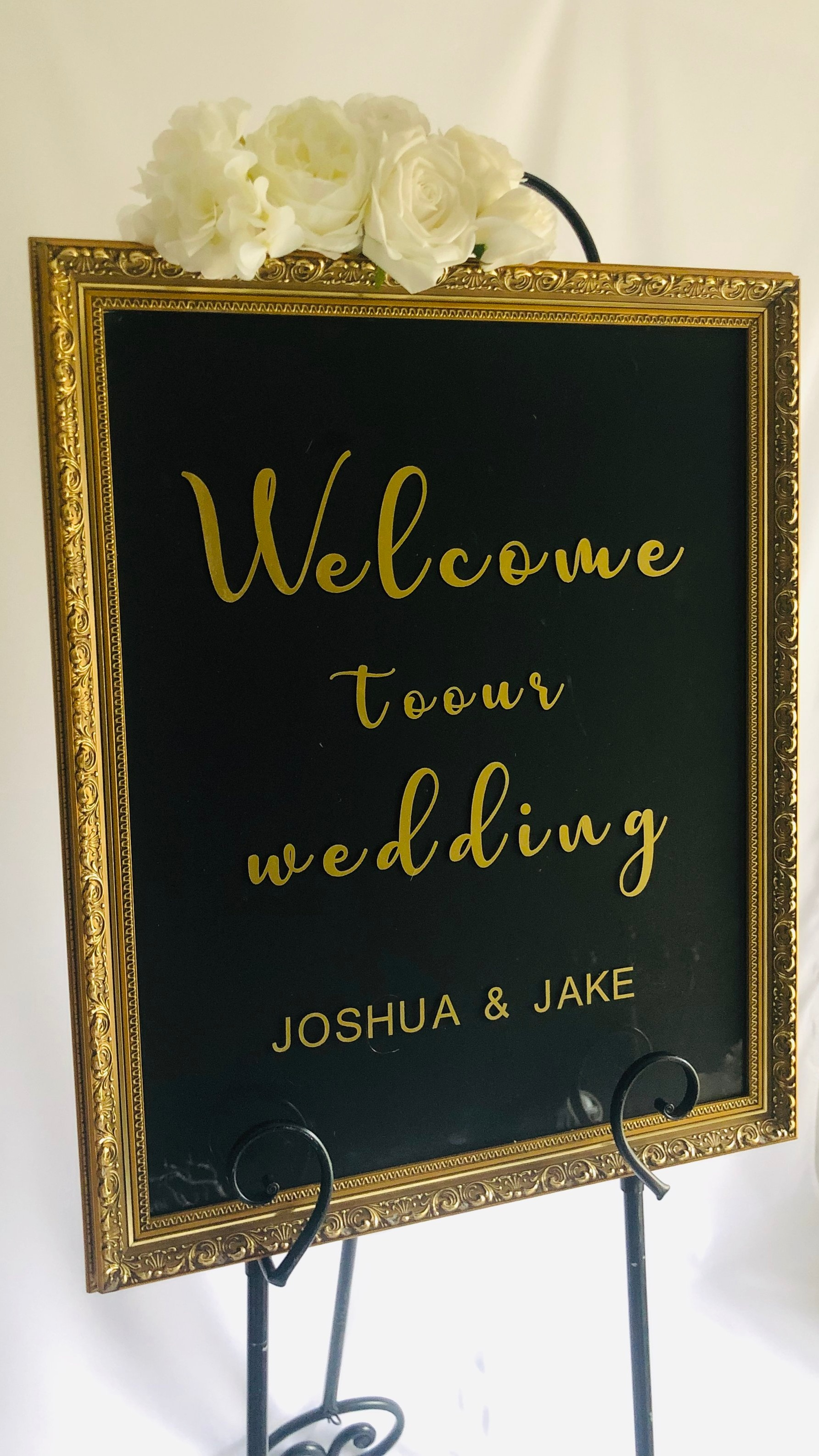 wedding welcome sign hire eve silk floral