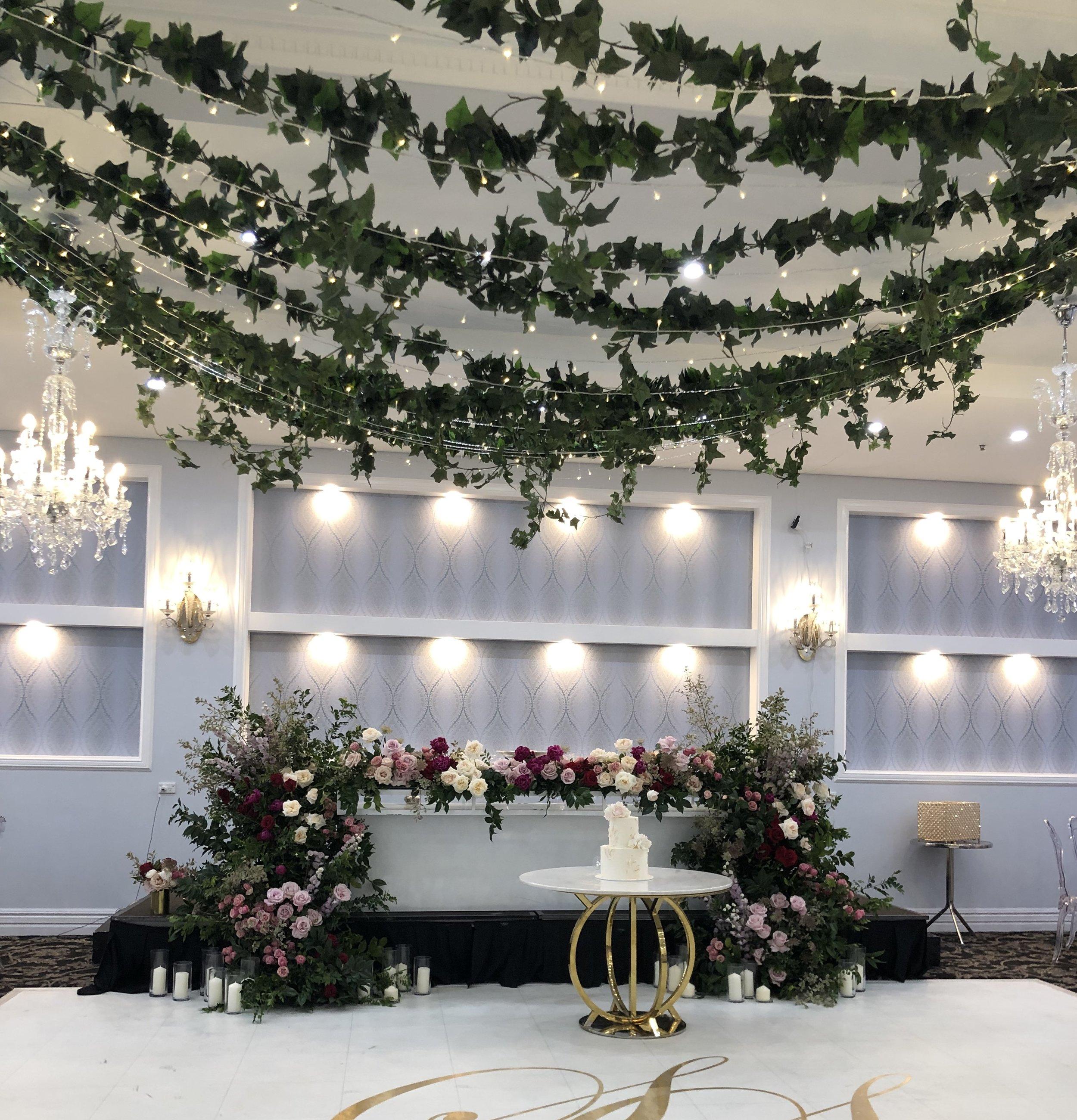 Ivy foliage wedding ceiling