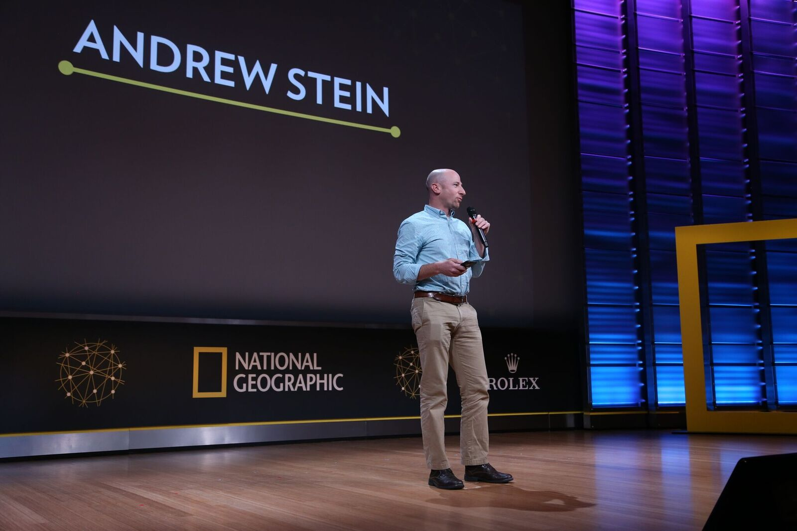 Dr. Andrew Stein talks lion conservation during Nat Geo's Explorer Festival. Photo credit: Ian Foulk