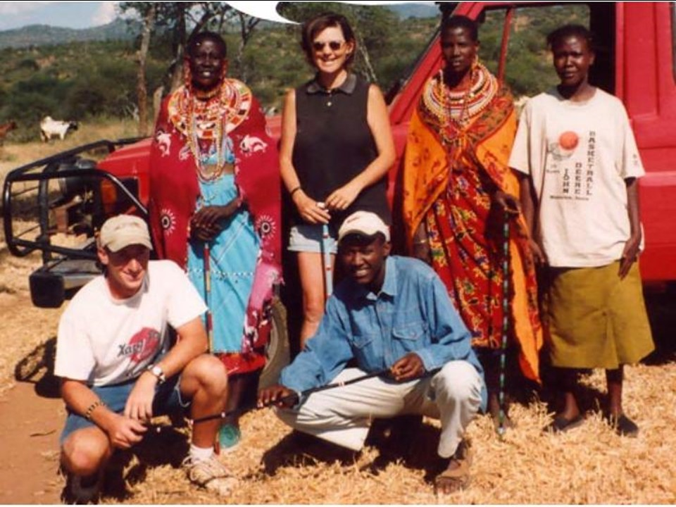 On my return to Kenya working on African wild dogs with Maasai, Samburu, Turkana and Pokot communities. Here I am with my boss Dr. Rosie Woodroffe (center), Symon ole Rana (bottom center) and (left to right) Symon's mother, aunt and sister.