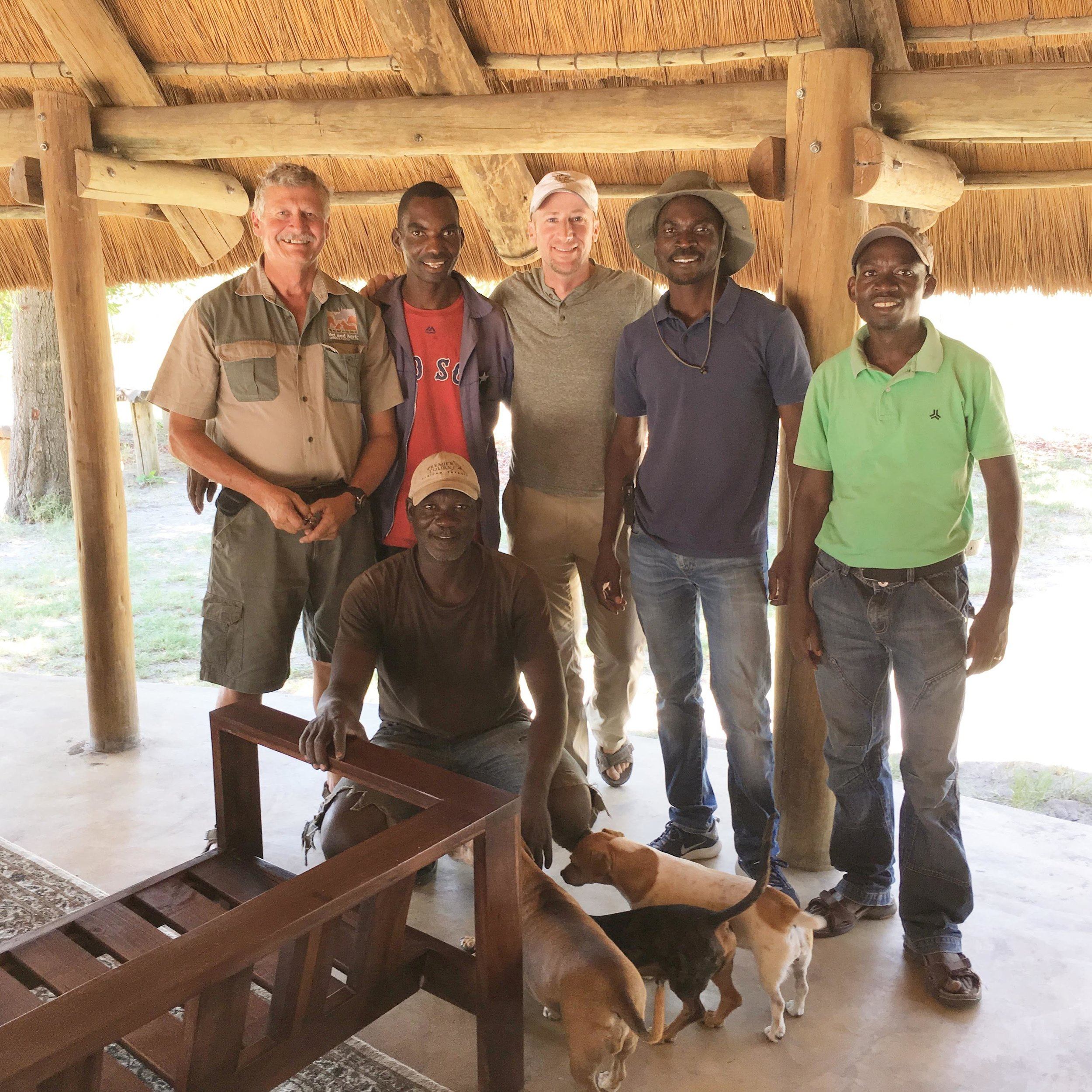 The Pride in Our Prides field Team including Dr. Erik Verreynne (veterinarian) and myself (center) who are part time in the field as well as (left to right from top) Pro Tomeletso, Dr. Edwin Mudongo and Dr. Keoikantse Sianga with Chris Dimbindo (front)