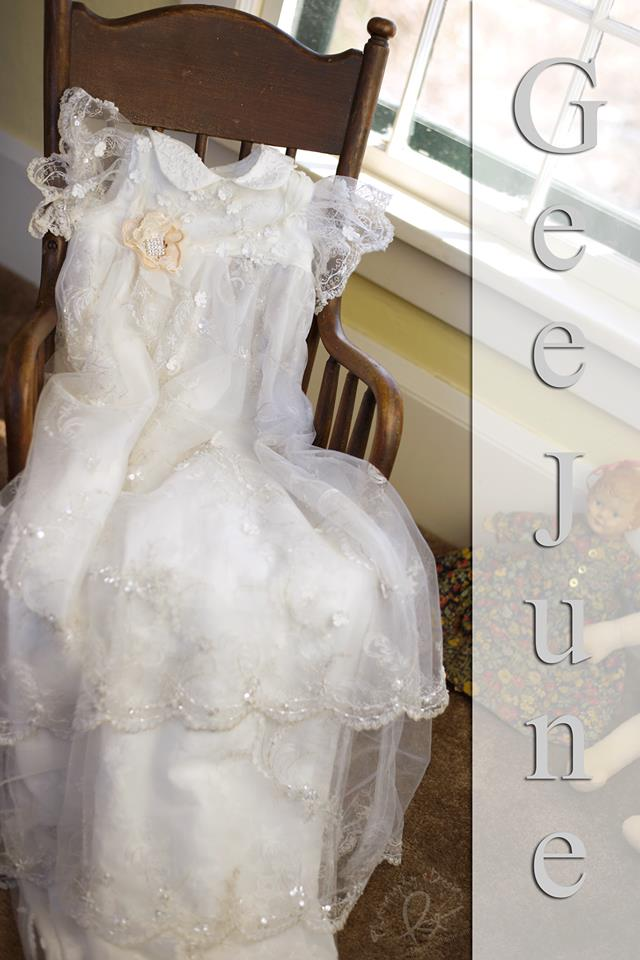 Peggy Sue Thorpe of Peggy Sue Thorpe Photography captured this image of Gia B.'s Christening gown!