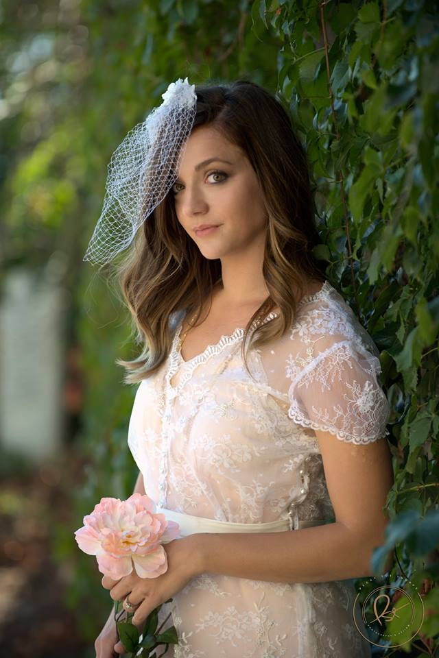 Photograhpy Credit: Peggy Sue Thorpe. Model: Sam Smith our hair and makeup artist for the day! Sam is wearing a Gee June LWD, vintage nightgown, and a custom birdcage veil!
