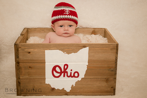 adorable baby prop handmade knit ohio buckeye hat.jpg