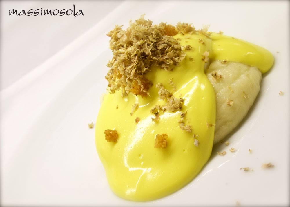 CHEF MASSIMO SOLA  oro d'Italia, caldo freddo di uovo poché su purea soffice alla lavanda, fonduta tradizionale e bianco grattugiato...