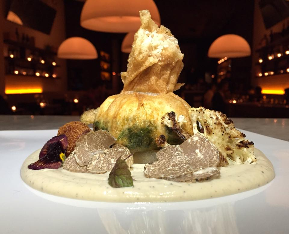 """CHEF PATRIZIA VOLANTI   """"Egg in a jacket"""" in feuilles de brick with sautéed spinach,cauliflower and coriander veloutè with butter noisette,parmigiano reggiano croquette,   grilled cauliflower and white truffle"""