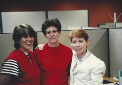 Pam and Vicki check in on my first job following graduation.