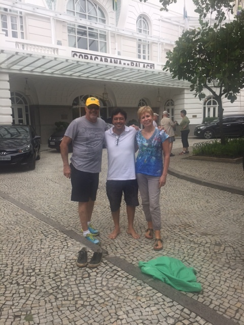 Juan, Wagner and I pose outside the famous Copacabana Palace in Rio.