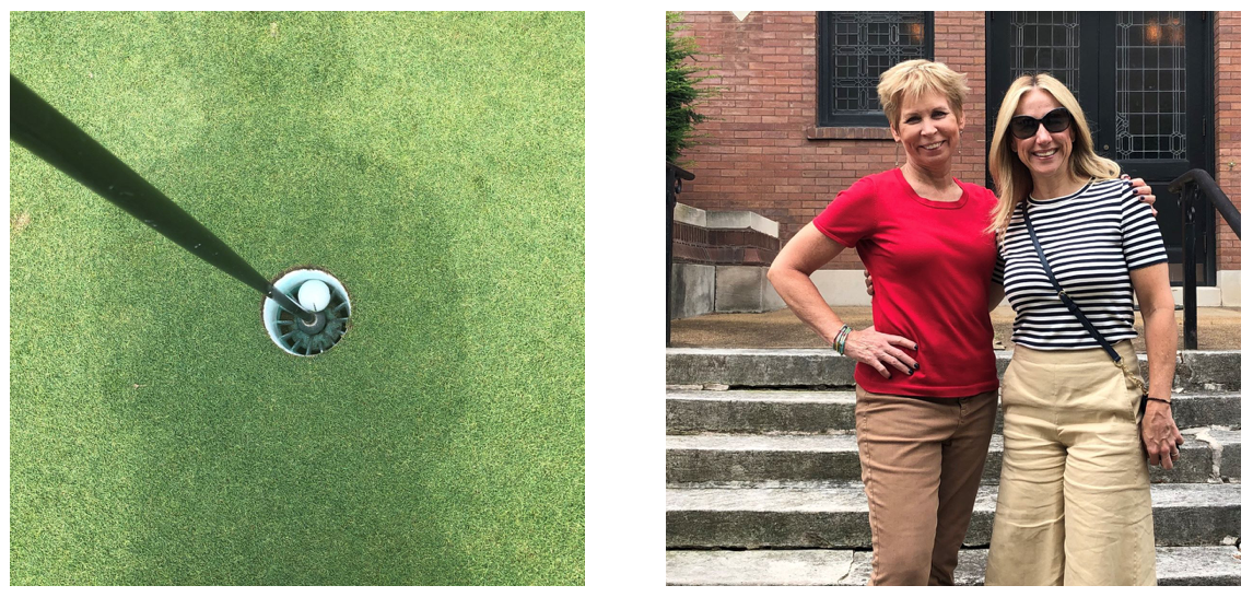 Look how that ball nestled right in for my hole-in-one! Meanwhile, I visit a St. Louis literary site, 4504 Westminster Place, meeting place for the women's cultural literary Wednesday Club (author Kate Chopin was a member) with fellow writer Ashley.