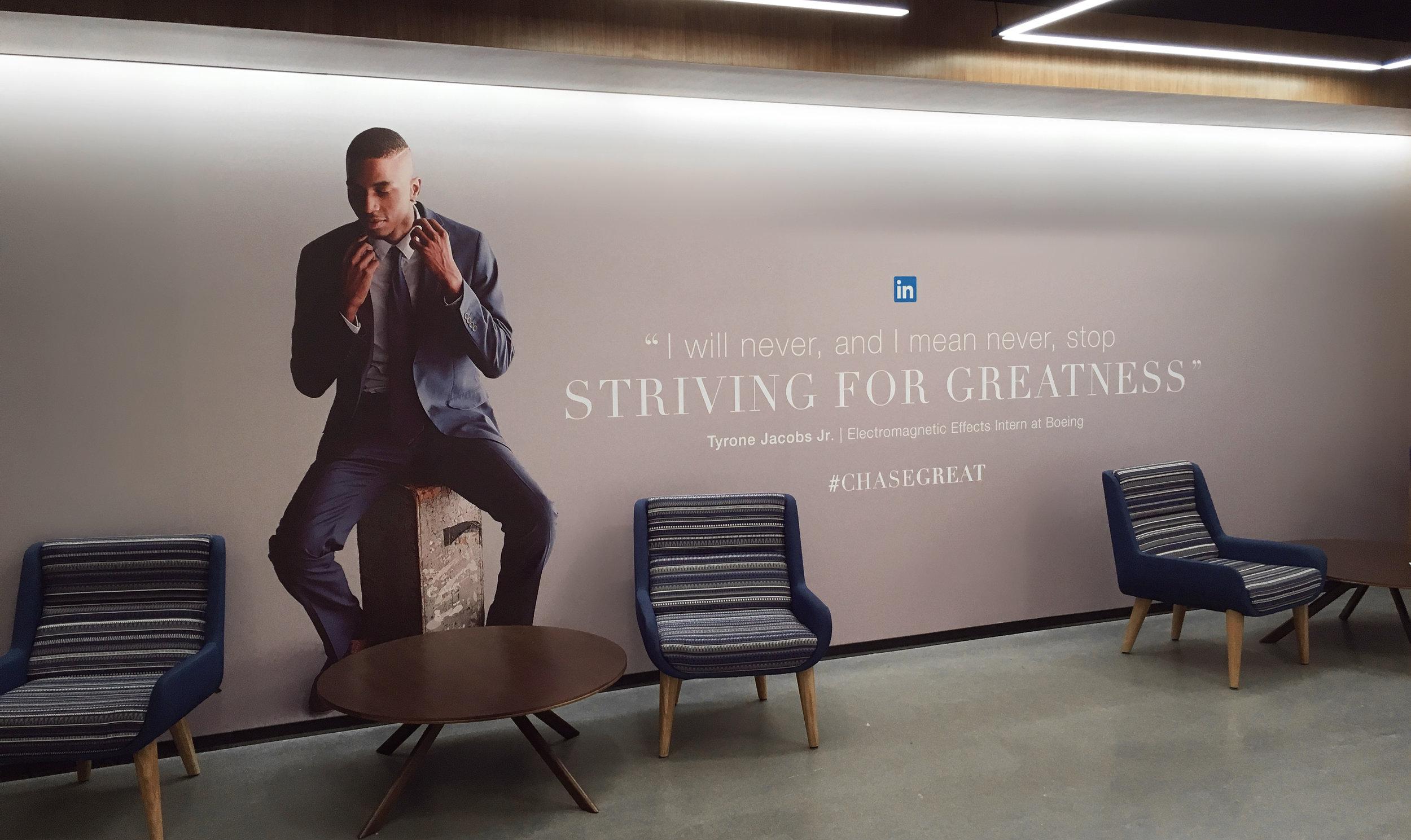 Campaign mural in LinkedIn's San Francisco office