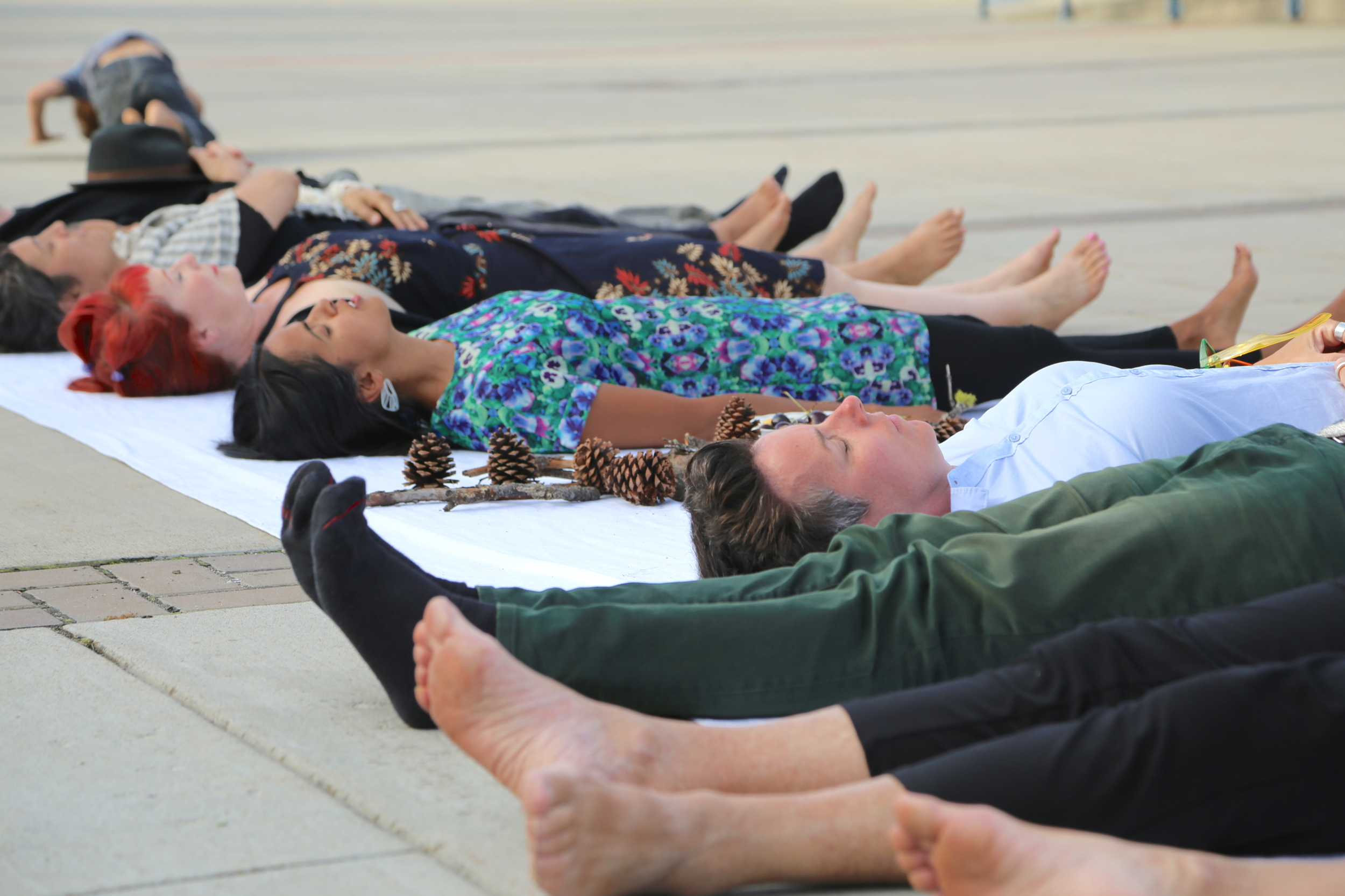 Shifting our bodies in public space: a laying meditation acknowledging the body, land and nourishment.