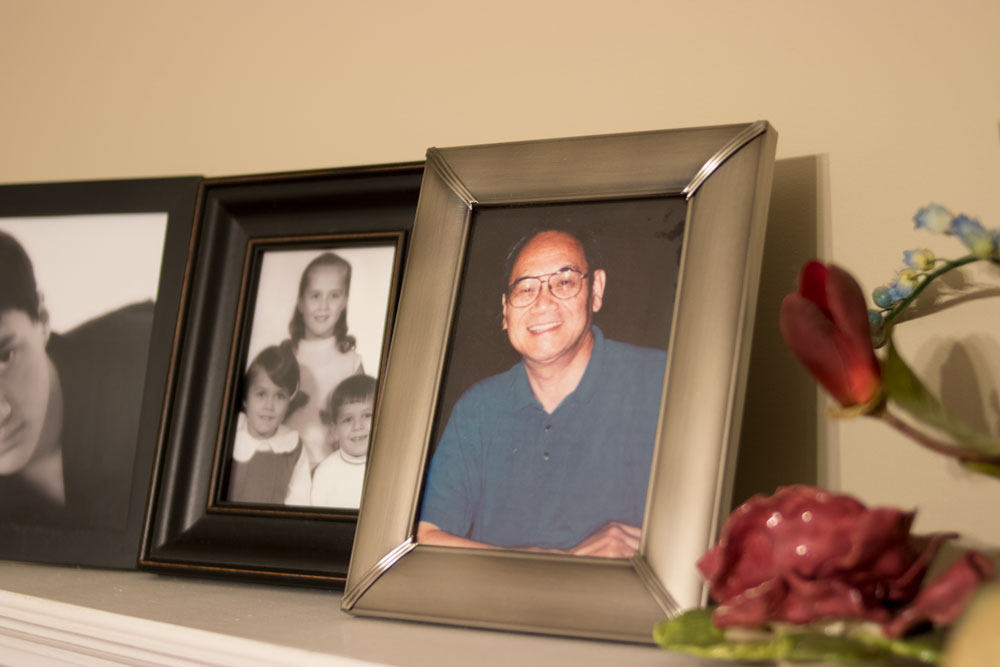 My  Adia as I've known him for most of my life, a smiling photo on the mantel.