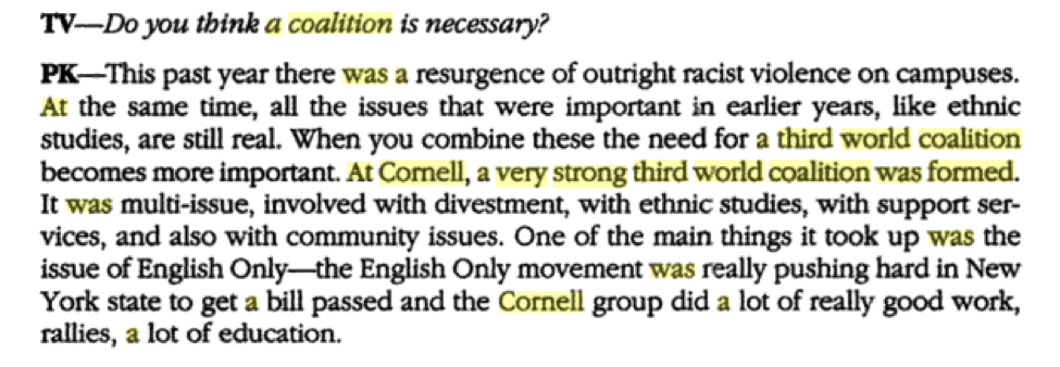 Excerpt referencing the then 'ECASU' Conference 1988 in the book,  New Voices: Student Activism in the 80s and 90s