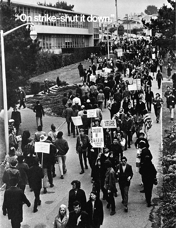 "Protestors march in front of San Francisco state university. Photo Credit:  ""Crisis at SF State"" © 1969 by Insight Publications"
