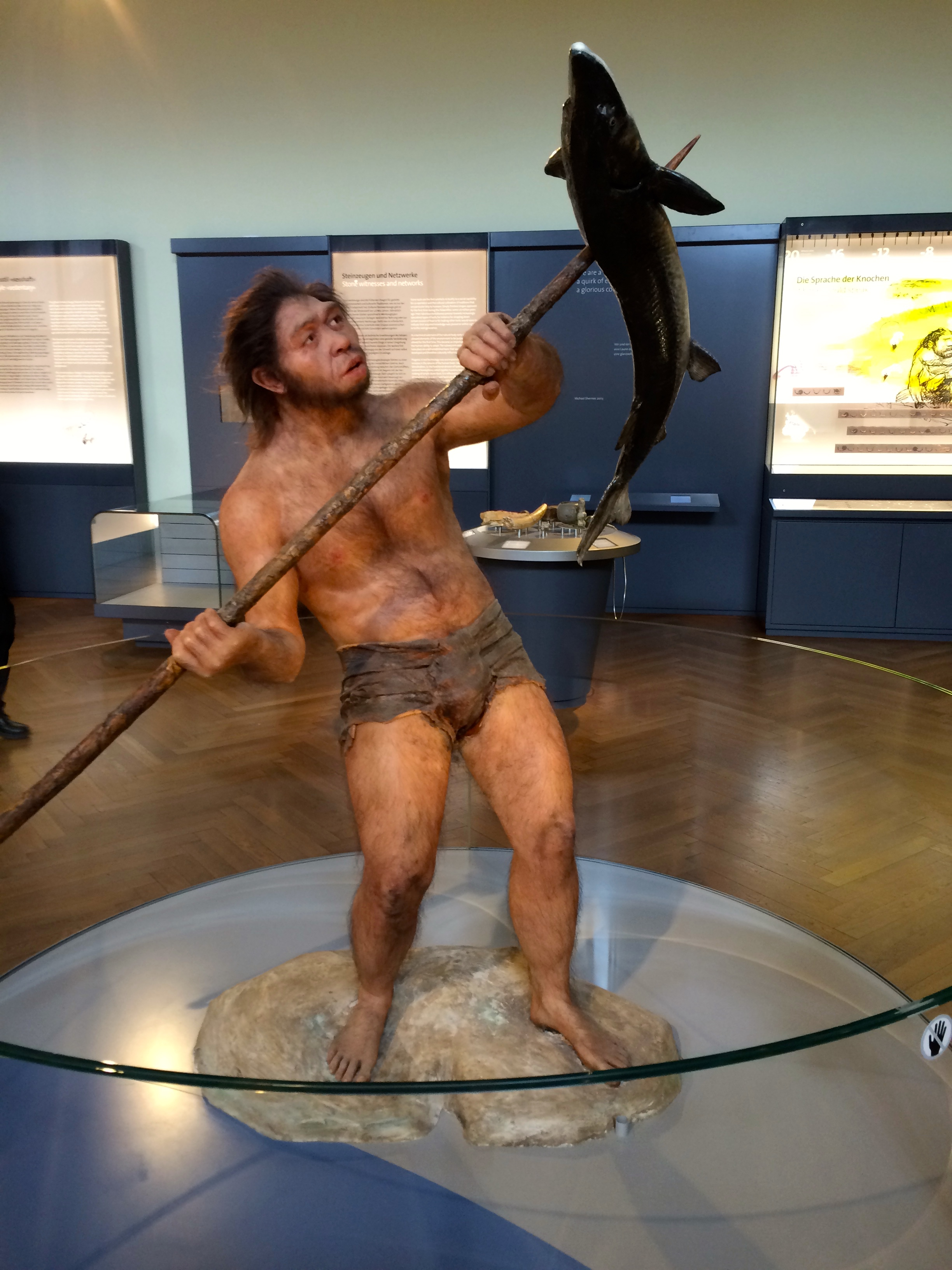 Why's that caveman standing on a lily pad made of stone? Also, he looks completely unsurprised that he caught that fish with a spear. I'd be freaking out.