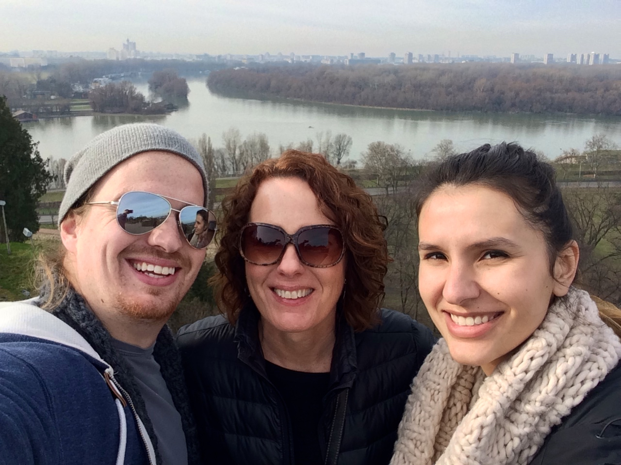 Me, Mom, and Moira. Selfie-time with the New Belgrade skyline in the background.
