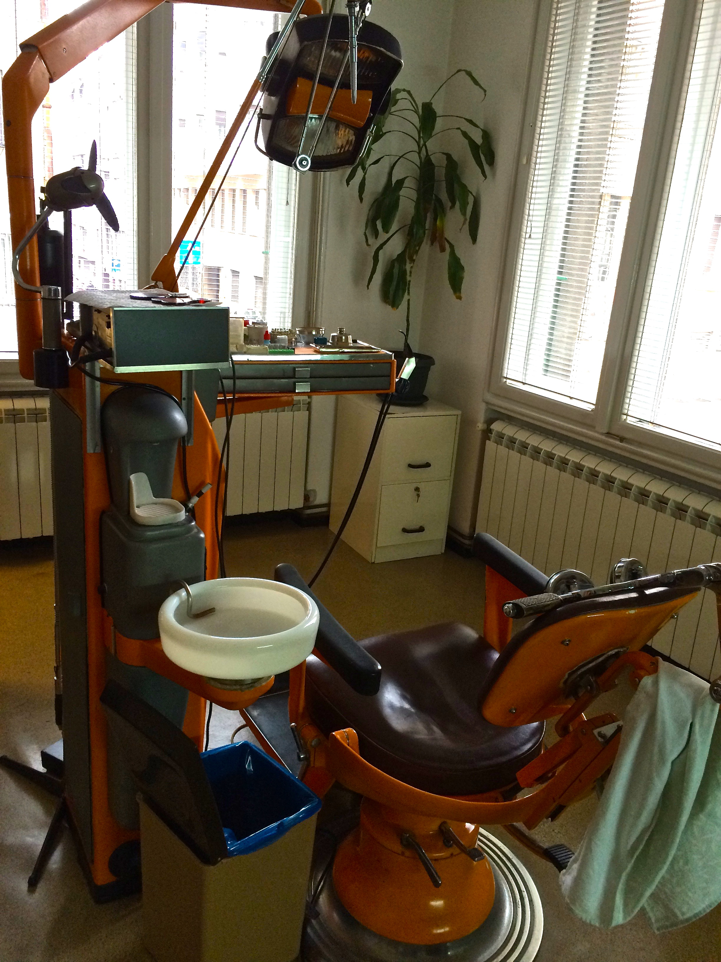 Just for fun, here's a picture of a dentist's chair here in Serbia. Moira's second cousin is a dentist, so she got some free work done while we're here. It's old, but it all works perfectly.