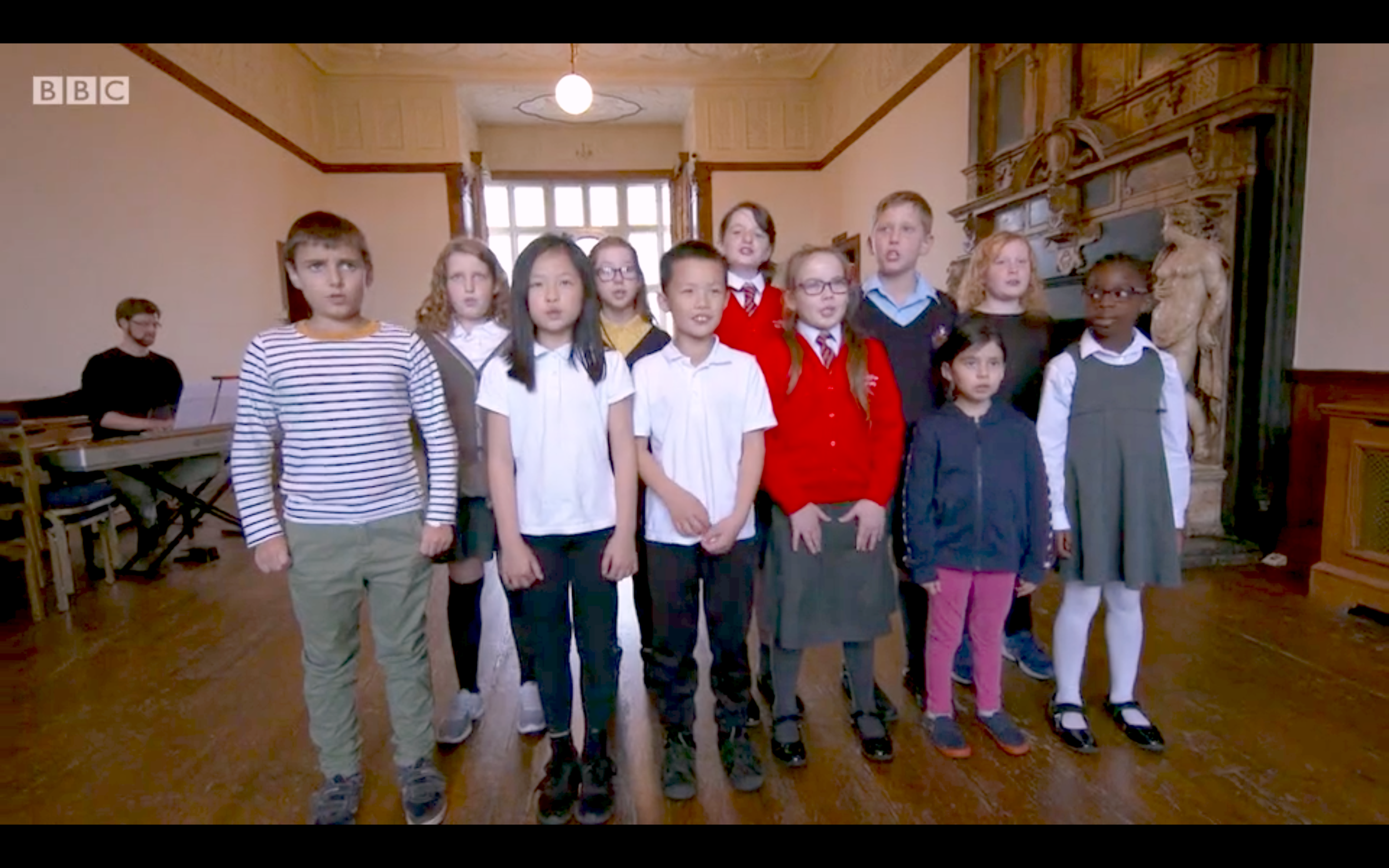 Greenwich Music School students singing for BBC's The One Show
