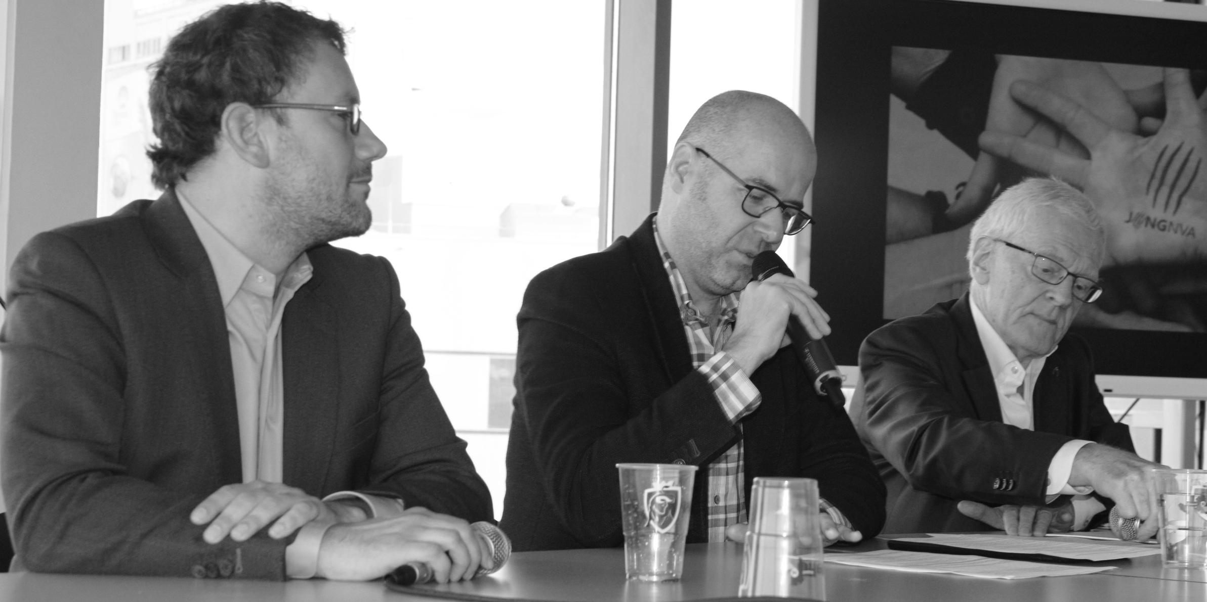 Dave Sinardet, Karl Drabbe en Jean-Pierre Rondas ( vlnr ).