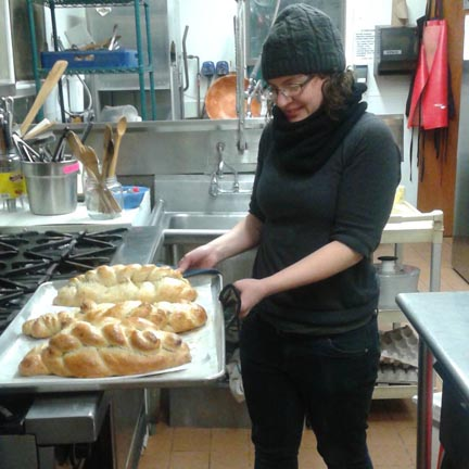 Challah coming from the oven