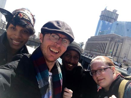 (Left to right) Miesha, Wil, Sabree and Veronica in front of the Philadelphia train station.