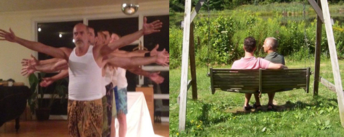 Two photos.  Left: Men in a line raising arms.  Right: back view of two men in outdoor swing.