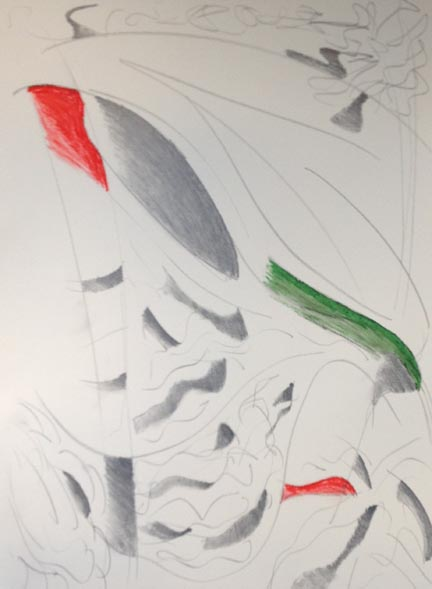 Abstract drawing with grey, red and green