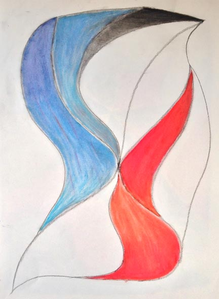 Abstract drawing of wavy forms in blue and red.