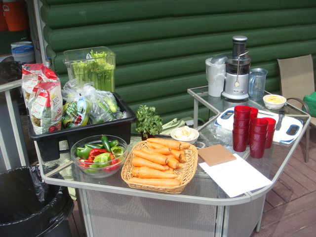 A display of food on the outdoor bar on the deck